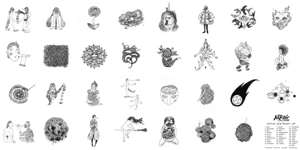 Visualized are 31 black and white ink illustrations made for the Inktober 2019 challenge. They are responding to 31 prompts for all the days in the month of October