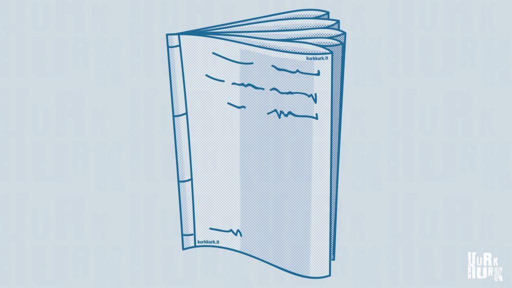 blue illustration of the Japanese style bookbinding